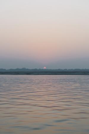 Sunset view at River Ganges in Varanasi, India