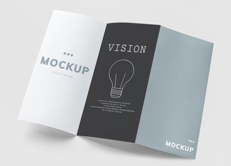 Dreifach gefaltete Broschürenmodelle gedruckte Materialien Standard-Bild