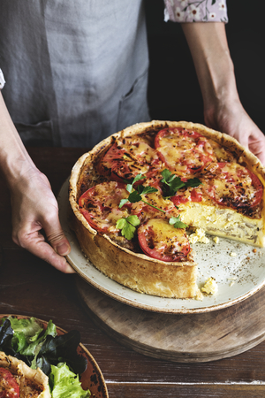 Mushroom quiche food photography recipe idea