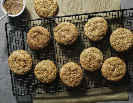 Closeup of Snickerdoodle cookies on a tray Stock Photo