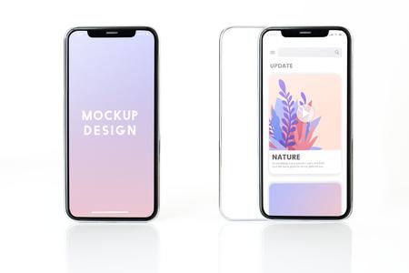 Full screen smartphone mockup design 免版税图像 - 115930471