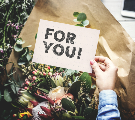 Flowers and a phrase For you on a card Stock Photo - 115930572