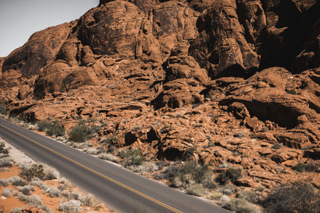 Road passing a desert area in USA