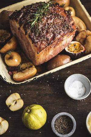 Roasted ham food photography recipe idea
