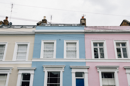 Colorful pastel apartment buildings in London