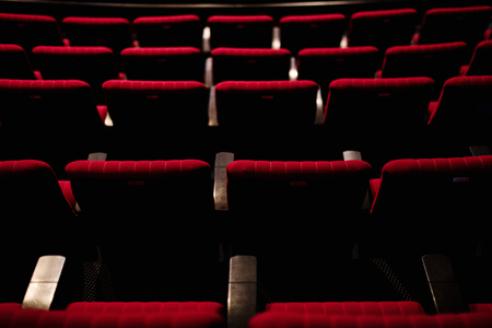 Rows of red seats in a theater 免版税图像