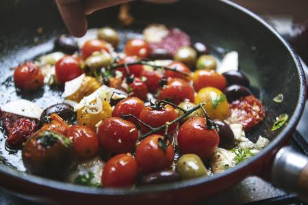 Fresh tomato sauce food photography recipe idea
