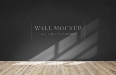Empty room with a dark gray wall mockup 版權商用圖片