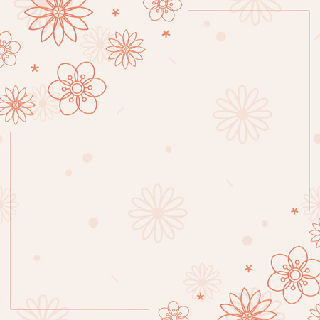 Orange floral pattern with a beige background vector