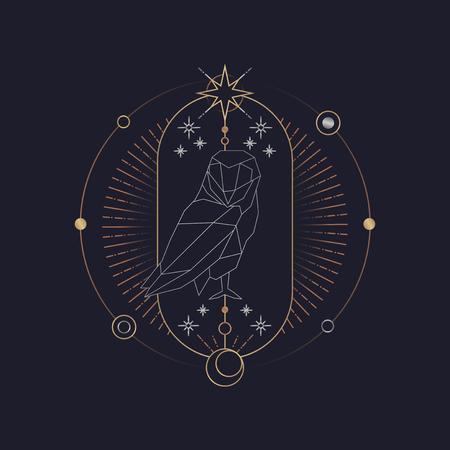Geometric owl mystic symbol vector