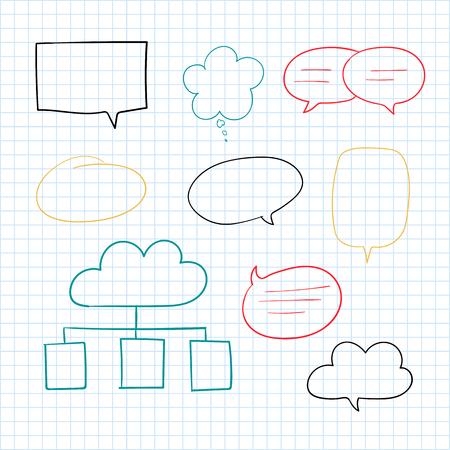 Hand-drawn doodle speech bubbles vector set Ilustração