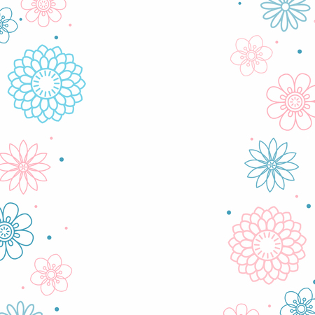 Pink and blue flower pattern with a white background vector