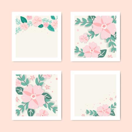 Spring floral frame design vector Ilustração