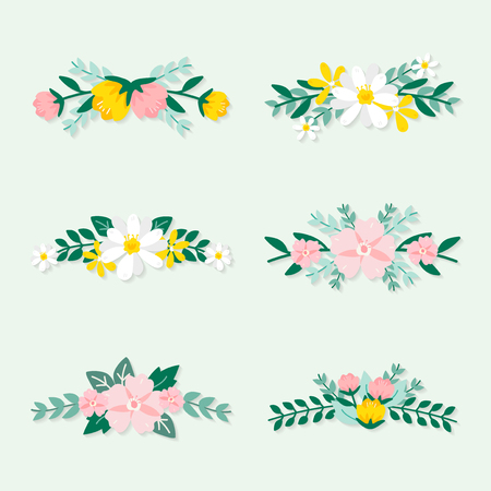Colorful spring floral ornate vectors