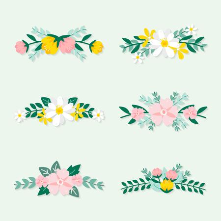 Vettori di ornati floreali primaverili colorati Vettoriali