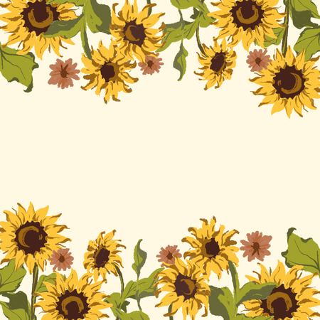 Sunflower pattern with a beige background Stock Vector - 125376310