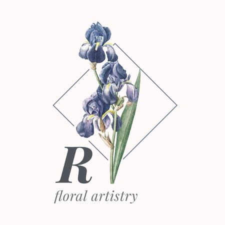 R floral artistry logo vector