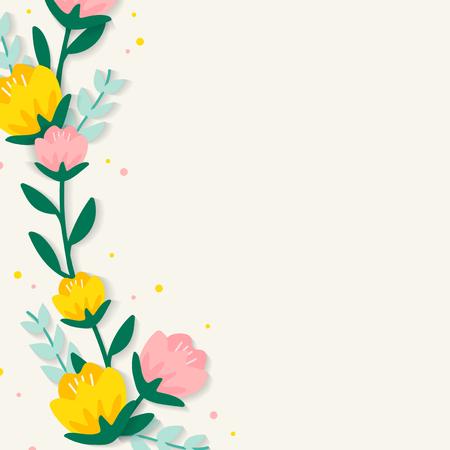 Spring floral frame design vector Imagens - 125376315