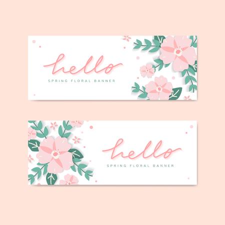Hello spring floral banner vector