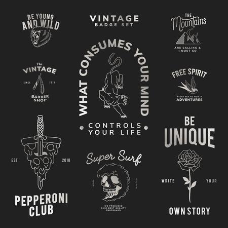 Motivational vintage badge set logo vector Illustration
