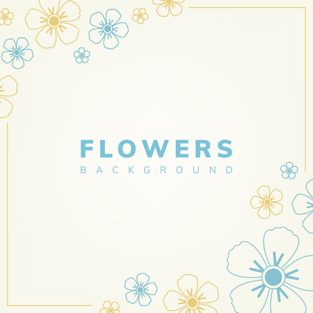 Blue and yellow flower pattern with a beige background vector