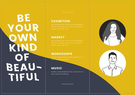 Monotone corporate brochure template mockup vector Vectores