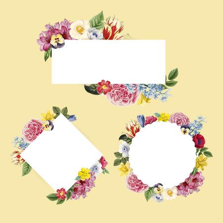 Floral themed copy space frames set Ilustração