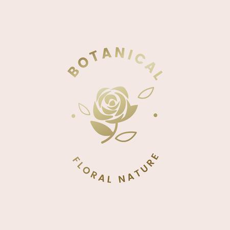 Vecteur de badge rose floral botanique