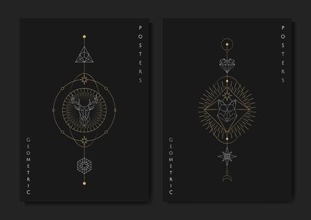 Geometric mystic symbols vector set Ilustração Vetorial