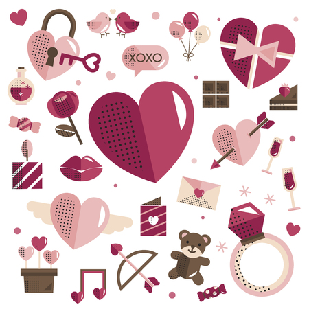 Valentine's Day icons vector set Illustration