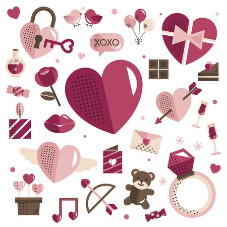 Valentine's Day icons vector set Stock Illustratie