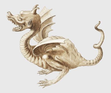 Vintage oriental dragon illustration vector