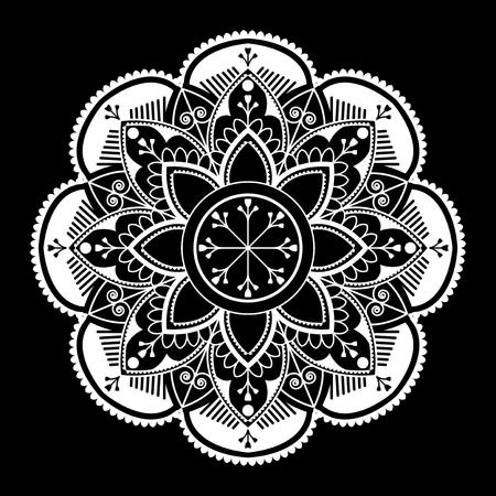 White mandala pattern on white background Stock Illustratie