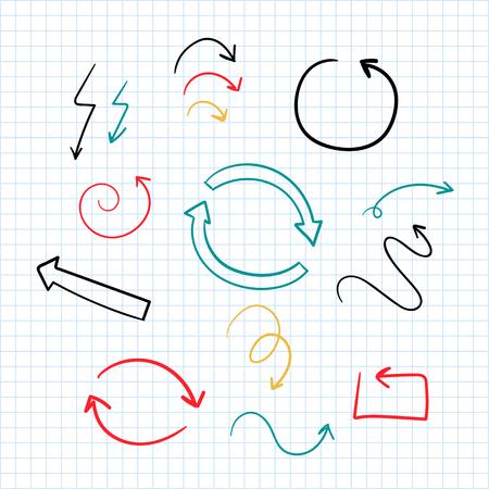 Hand-drawn doodle arrows vector set Standard-Bild - 116525525