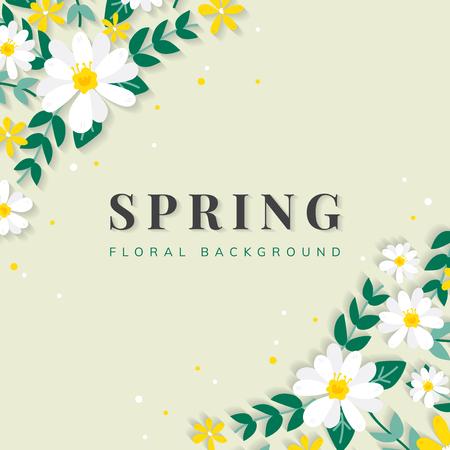 Spring floral frame design vector Illustration