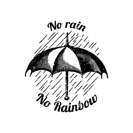 Motivational quote no rain no rainbow badge vector