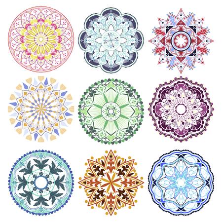 Colorful mandala patterns set on white background Ilustracja