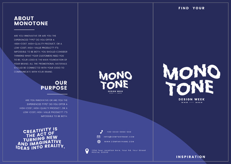Monotone corporate brochure template mockup vector