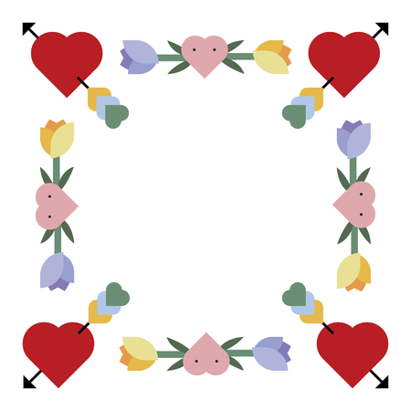 Romantic love borders vector Ilustracja