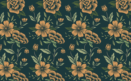 Vintage hand drawn floral patterned background Archivio Fotografico - 125376376