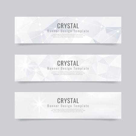 Vettore di modello di banner con texture di cristallo grigio e bianco Vettoriali