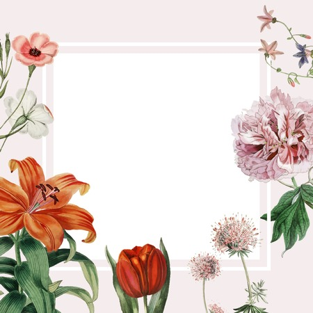 Colorful vintage floral design frame Иллюстрация