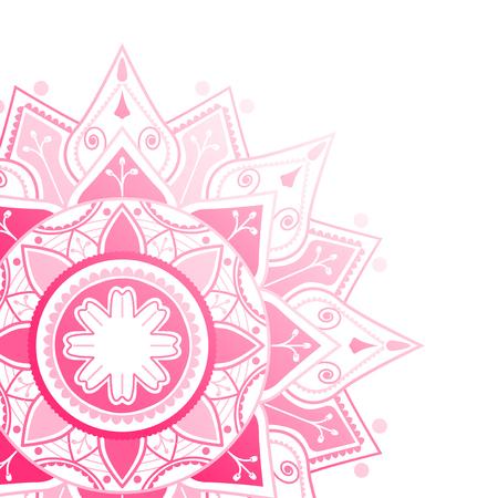 Pink mandala pattern on white background Illustration