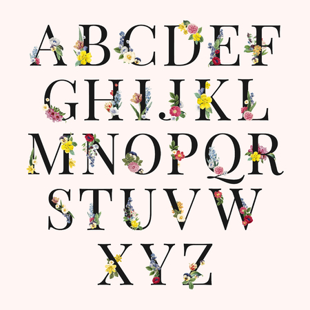 Floral capital alphabet set vector Stock fotó - 125376394