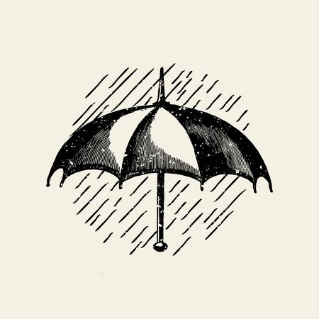 Umbrella in the rain badge vector