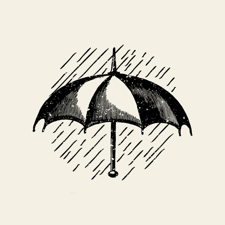 Umbrella in the rain badge vector