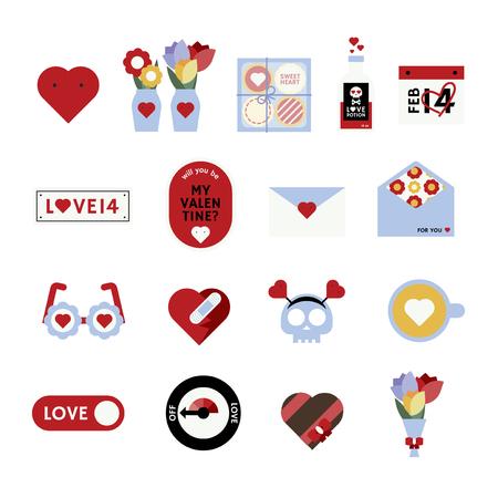 Valentine's day love icon vector set 일러스트