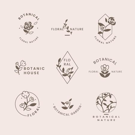 Botanical floral rose badges vector set Vetores