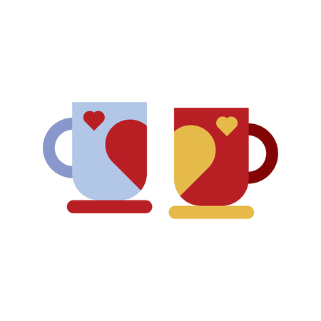 Heart mug cup for the couple vector