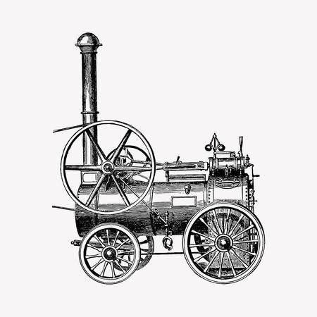 Vector de grabado de motores de vapor portátiles vintage